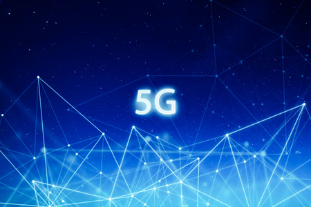 Foto de 5G network wireless systems and internet of things with abstract connected dots wireless communication network on space background . - Imagen libre de derechos