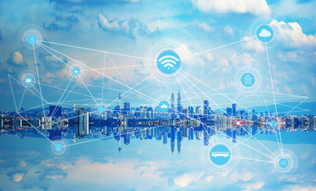 Foto de Smart city and wireless communication network, abstract image visual, internet of things . - Imagen libre de derechos