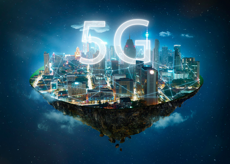 Foto de Fantasy island floating in the air with 5G network wireless systems and internet of things , Smart city and communication network concept . - Imagen libre de derechos