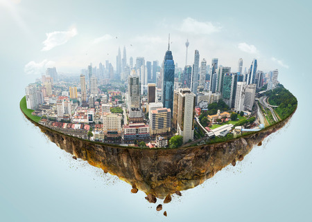 Foto de Fantasy island floating in the air with modern city skyline . - Imagen libre de derechos