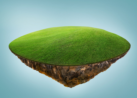 Photo for Fantasy island floating in the air with green field . Isolated on light blue background . - Royalty Free Image
