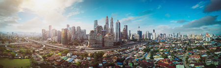 Photo for Panorama cityscape view in the middle of Kuala Lumpur city center , early morning with little mist , Malaysia . - Royalty Free Image
