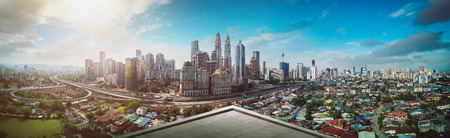 Photo for Open space balcony with Kuala Lumpur cityscape skyline view  . - Royalty Free Image