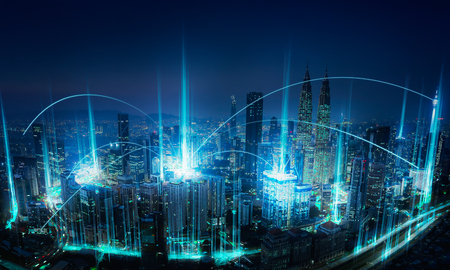 Foto de Modern abstract cityscape and network connection concept . - Imagen libre de derechos