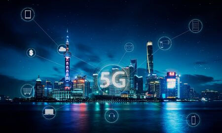 Photo pour Modern city with smart 5G wireless communication network concept . - image libre de droit