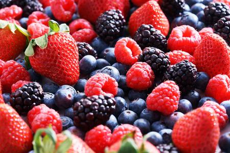 Photo for strawberries, blueberries, raspberries and black berries. fresh berries on white background - Royalty Free Image