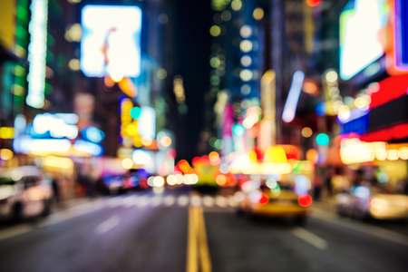 Photo for Blurred street llumination and night lights of New York City - Royalty Free Image