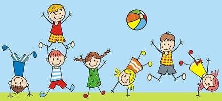 Ilustración de Jumping kids, vector icon, funny illustration - Imagen libre de derechos