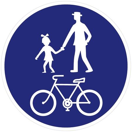 Illustrazione per road sign, pedestrian and bicycle road sign pedestrian and bicyclist, vector - Immagini Royalty Free