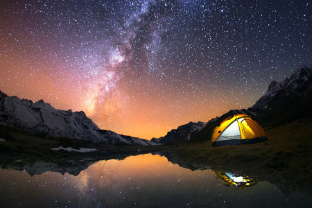 Photo for 5 Billion Star Hotel. Camping in the mountains under the starry night sky. - Royalty Free Image