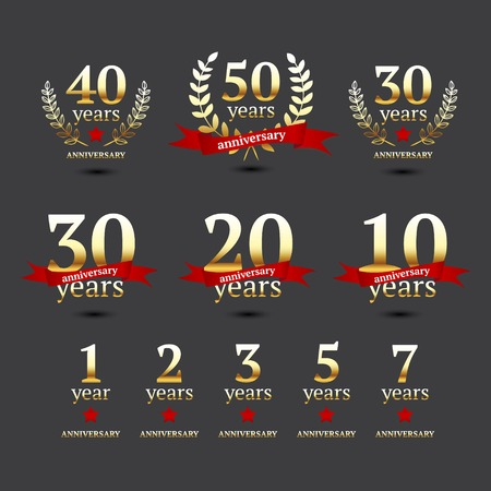 Illustration for Set of anniversary golden signs, illustration  - Royalty Free Image