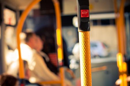 Foto de Inside public bus transport and stop button detail - Imagen libre de derechos