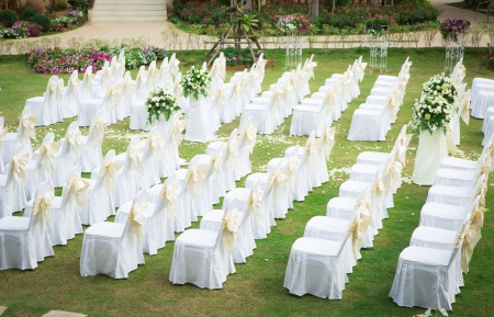 Photo for Wedding ceremony in a beautiful garden - Royalty Free Image