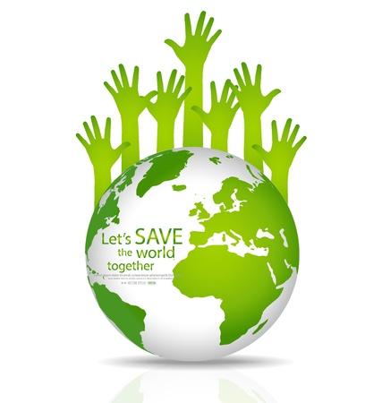 Ilustración de Save the world, Globe with hands. Illustration. - Imagen libre de derechos