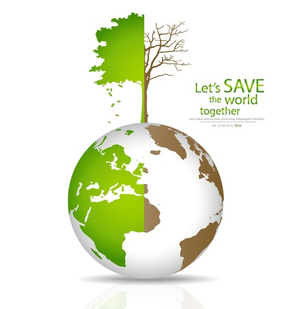 Save the world, Tree on a deforested globe and green globe. Illustration.