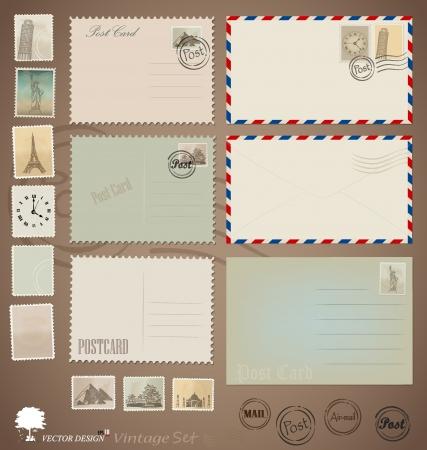Illustration pour Illustration set: Vintage postcard designs, envelopes and stamps. - image libre de droit