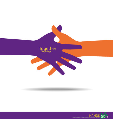 Illustration for Handshake, Teamwork Hands. Vector illustration. - Royalty Free Image
