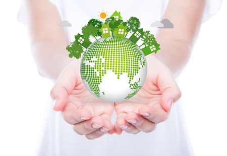 Photo pour Woman hands over body hold eco friendly earth - image libre de droit