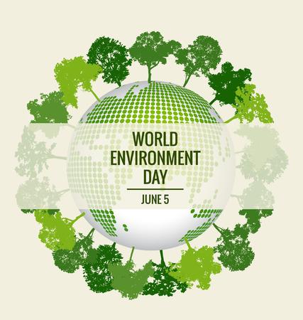 Ilustración de World environment day concept. Green Eco Earth - Imagen libre de derechos