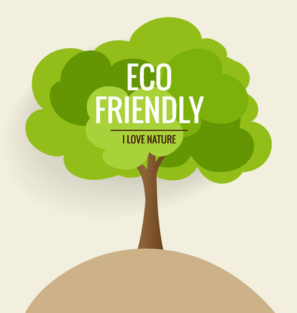 Foto per ECO FRIENDLY. Ecology concept with tree background. Vector illustration. - Immagine Royalty Free