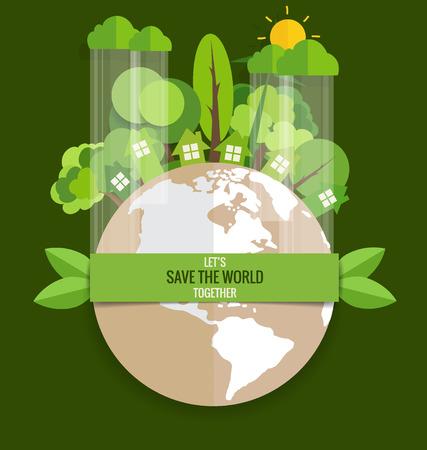 Ilustración de ECO FRIENDLY. Ecology concept with Green Eco Earth and Trees. Vector illustration. - Imagen libre de derechos