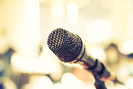 Photo for Black microphone in   conference room ( Filtered image processed vintage effect. ) - Royalty Free Image