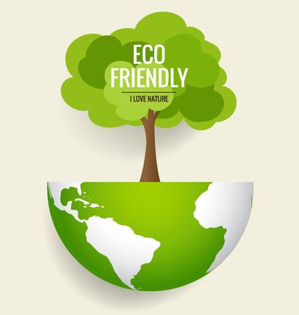 Ilustración de ECO FRIENDLY. Ecology concept with globe and tree background. Vector illustration. - Imagen libre de derechos