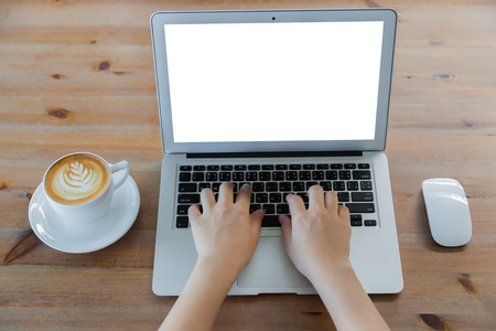Photo for Closeup of business woman hand typing on laptop keyboard and coffee - Royalty Free Image
