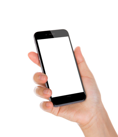 Photo pour Hand holding mobile smart phone with blank screen Isolated on white background - image libre de droit