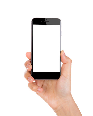 Foto de Hand holding mobile smart phone with blank screen Isolated on white background - Imagen libre de derechos