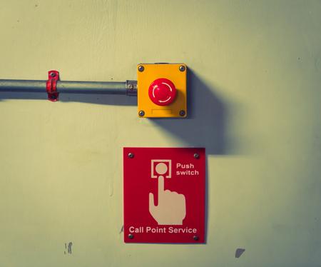 Photo pour Call point service Button  ( Filtered image processed vintage effect. ) - image libre de droit
