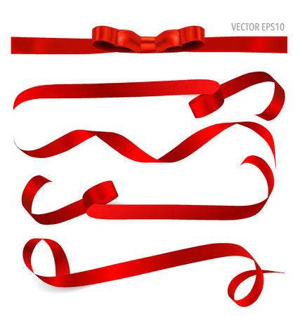 Illustration pour Shiny red ribbon on white background with copy space. Vector illustration. - image libre de droit