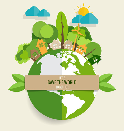Illustration pour ECO FRIENDLY. Ecology concept with Green Eco Earth and Trees. Vector illustration. - image libre de droit