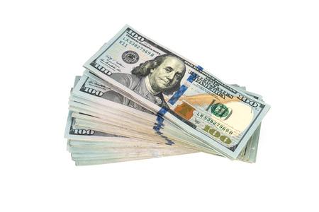 Foto de One hundred dollars banknotes on white background - Imagen libre de derechos