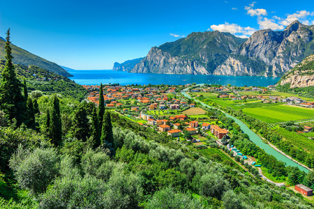 Lake Garda and Sarca river near Torbole town,Northern Italy,Europe