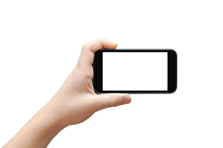 Photo for Hand holding big touchscreen smart phone, clipping path - Royalty Free Image