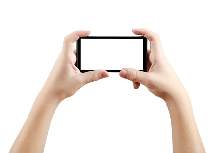Photo for Two hands holding big screen smart phone, clipping path - Royalty Free Image