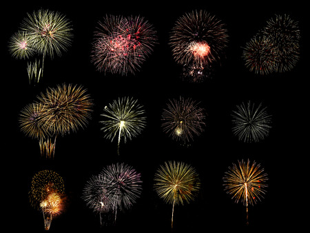 Photo for Colorful assorted fireworks selection on a black background. - Royalty Free Image