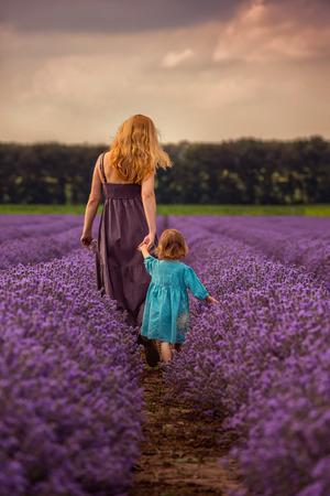 Foto de Woman and child in back walking in a lavender field at sunset - Imagen libre de derechos