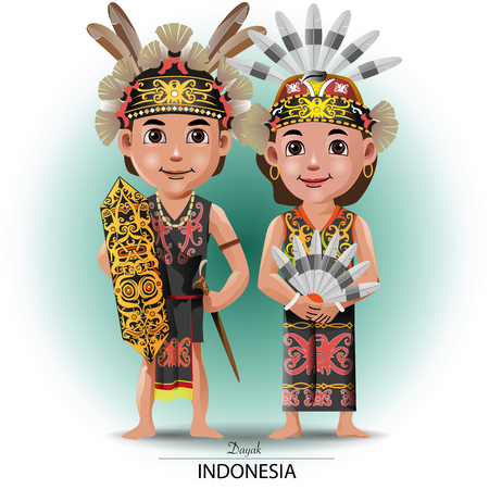 Illustration pour Vector illustration, Dayak nor Kalimantan traditional cloth - image libre de droit