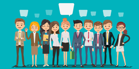 Illustration pour People creating business in cartoon style. Teamwork to finding a new idea working form. Looking deep into the meaning of the system. - image libre de droit