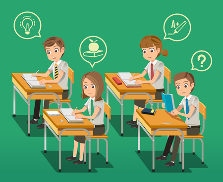 Ilustración de Intensive classroom education concept. General school. Creating Ideas from Learning. Interested lesson. - Imagen libre de derechos