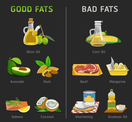 Illustrazione per Good and bad fats for cooking. Foods to maintain a healthy body.Nutrition should pay special attention. - Immagini Royalty Free