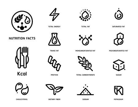 Ilustración de Set of nutrition facts icon concept in clean minimal style illustration. - Imagen libre de derechos