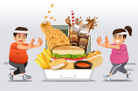 Illustrazione per Exercise barriers for who Familiar with eating fast food want to lose weight. People give up a diet or exercise and happy return to junk food again. like a fat. - Immagini Royalty Free