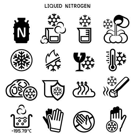 Ilustración de Liquid nitrogen experiment icon. Low temperature chemical. - Imagen libre de derechos