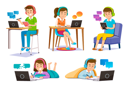 Illustration pour Online learning through electronic tools. People Finding self-knowledge anywhere. e-book and video content service. - image libre de droit