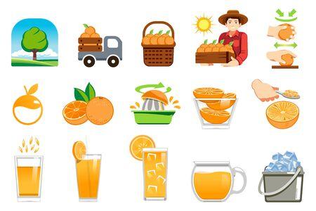 Illustration for Orange farm product. Fresh juice for healthy lifestyle customer. - Royalty Free Image