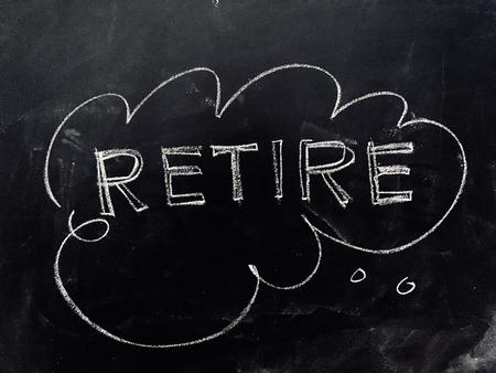 Foto de Thinking about Retirement Handwritten on Blackboard as JPG File - Imagen libre de derechos