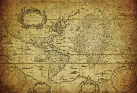 Photo for vintage map of the world 1635   - Royalty Free Image